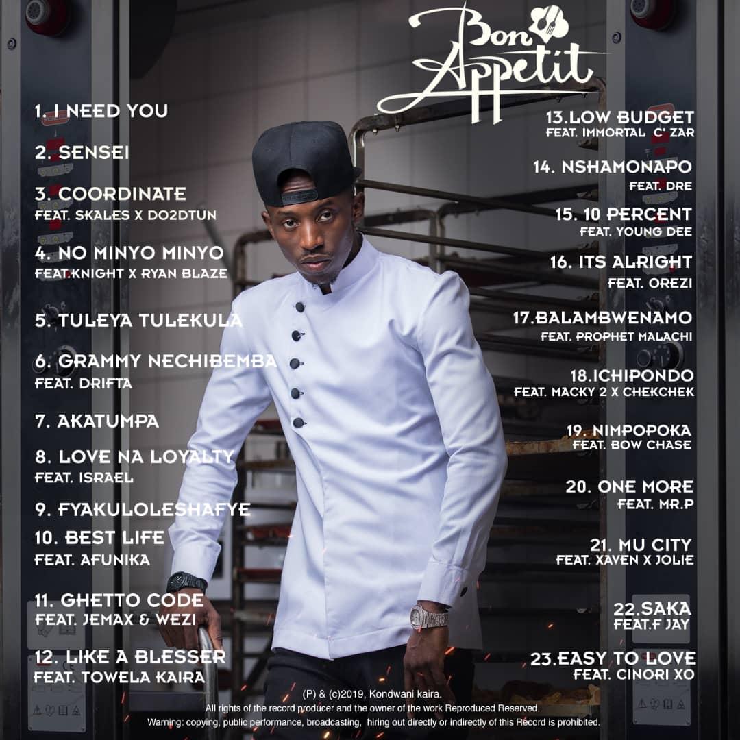 Chef 187 - Bon Appetit Album Tracklist